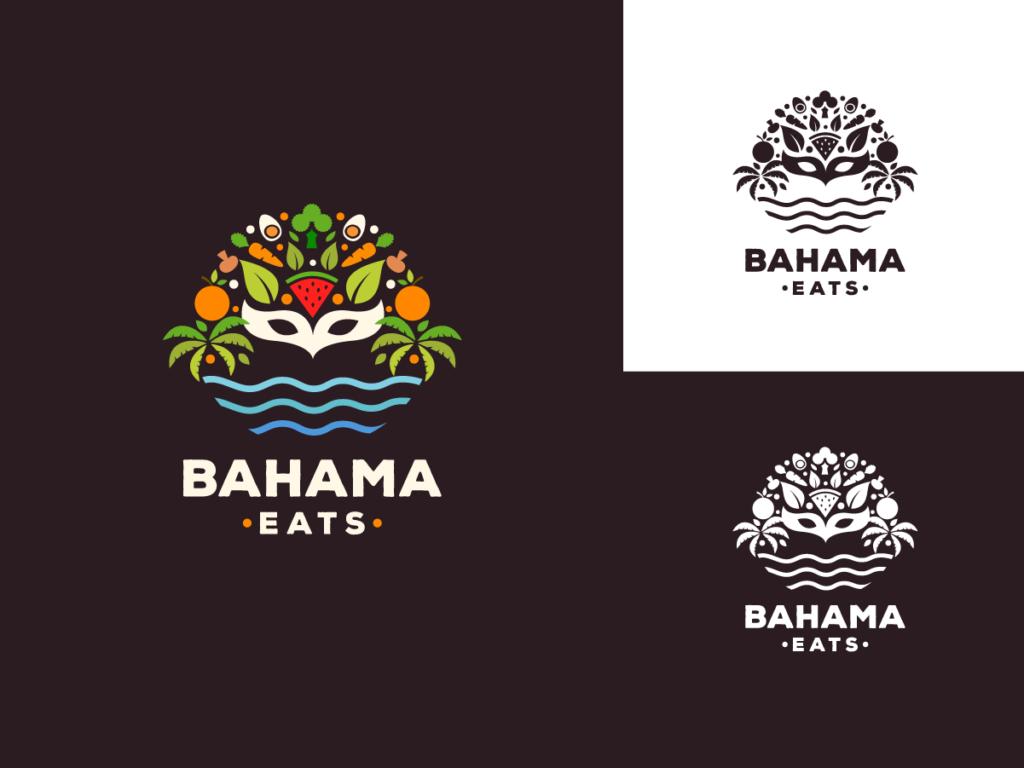tropical restaurant logo fruit carnival mask and sea