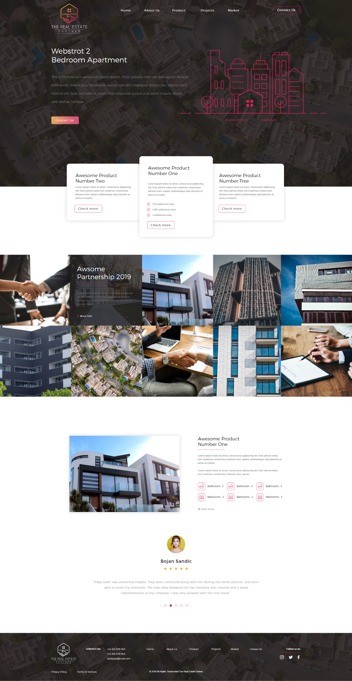 the real estate partnership homepage design