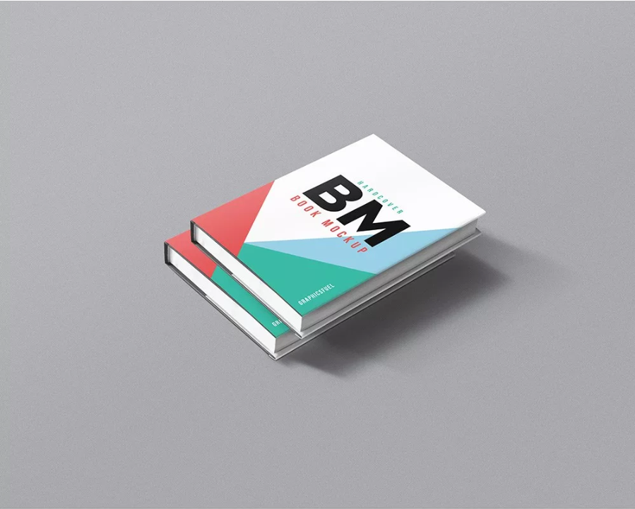 two hardcover books stack mockup