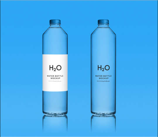 H20 tall glass water bottle mockup