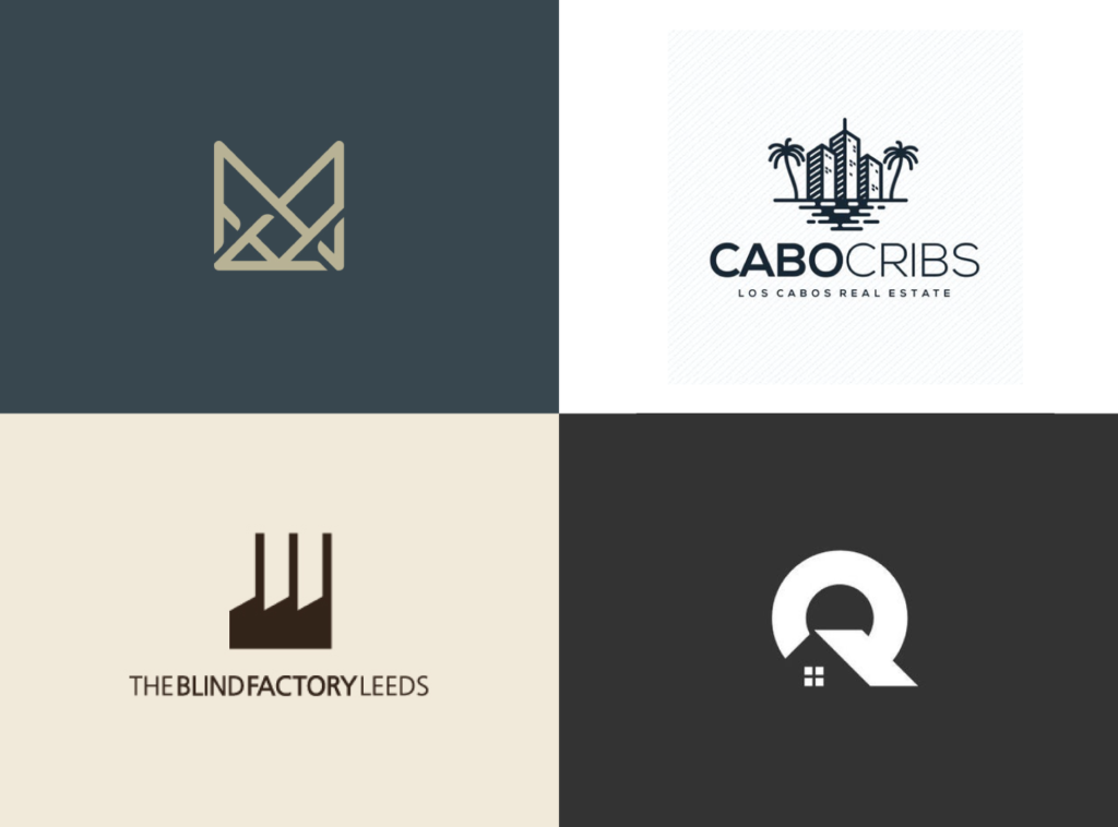 a collection of 4 real estate logo designs