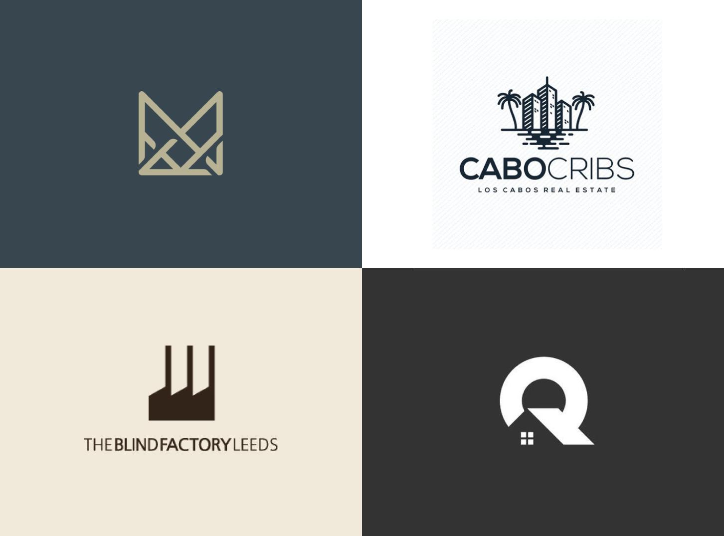 a collection of 4 real estate logo designs