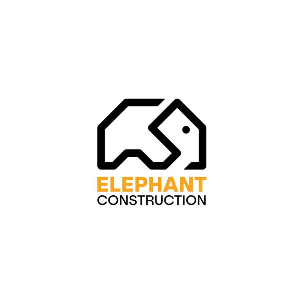 minimalist elephant shaped as a house construction logo design