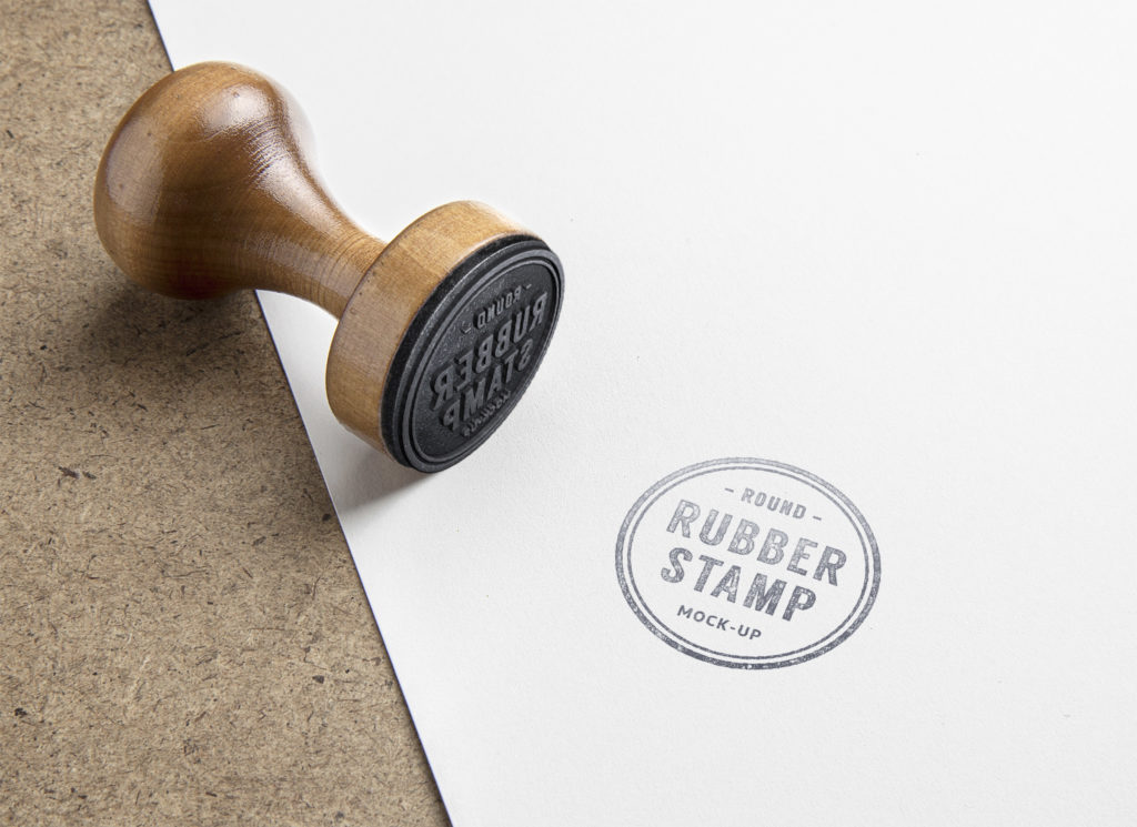 wooden stamp red AB initials PSD mockup