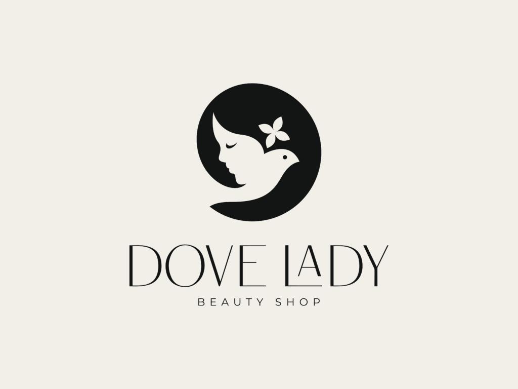 negative space woman face beauty brand logo