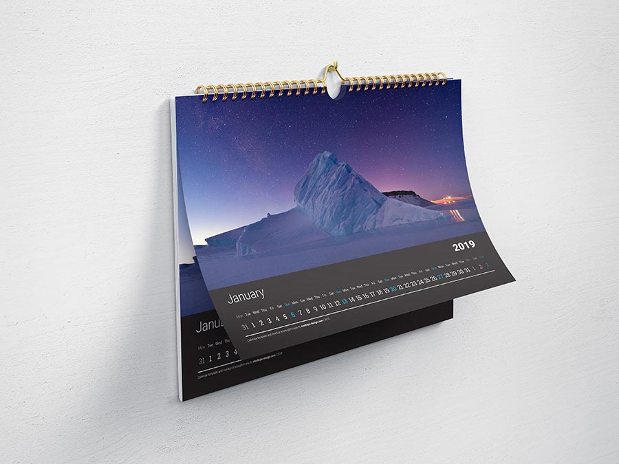 horizontal wall calendar mockup template