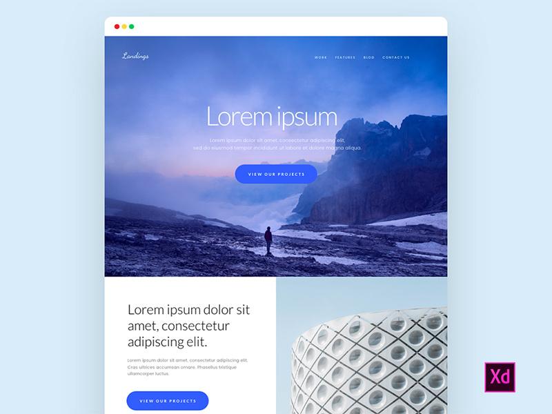 free adobe xd landign page UI kit