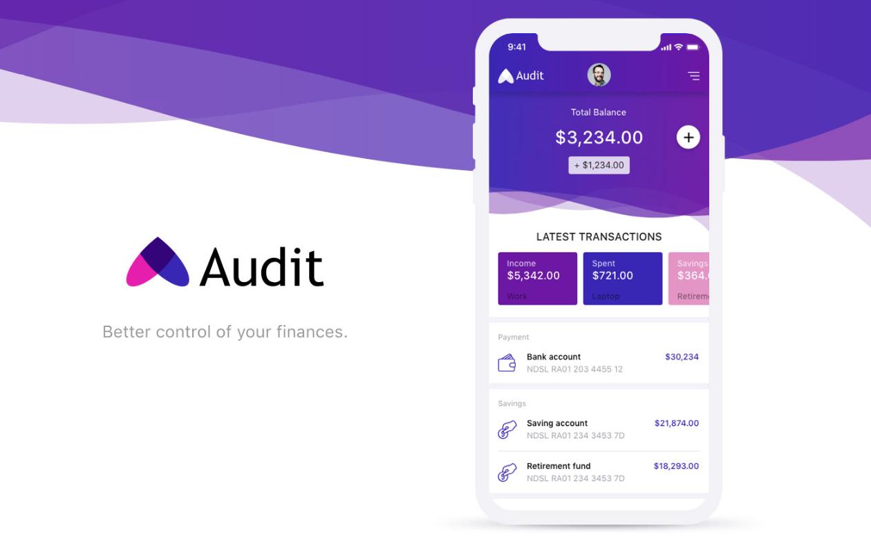 audit finance mobile app xd kit