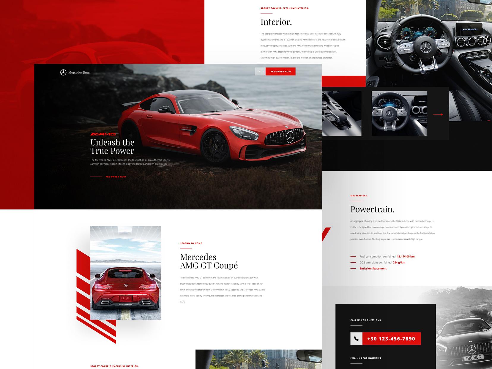 minimalist car landing page adobe xd ui kit