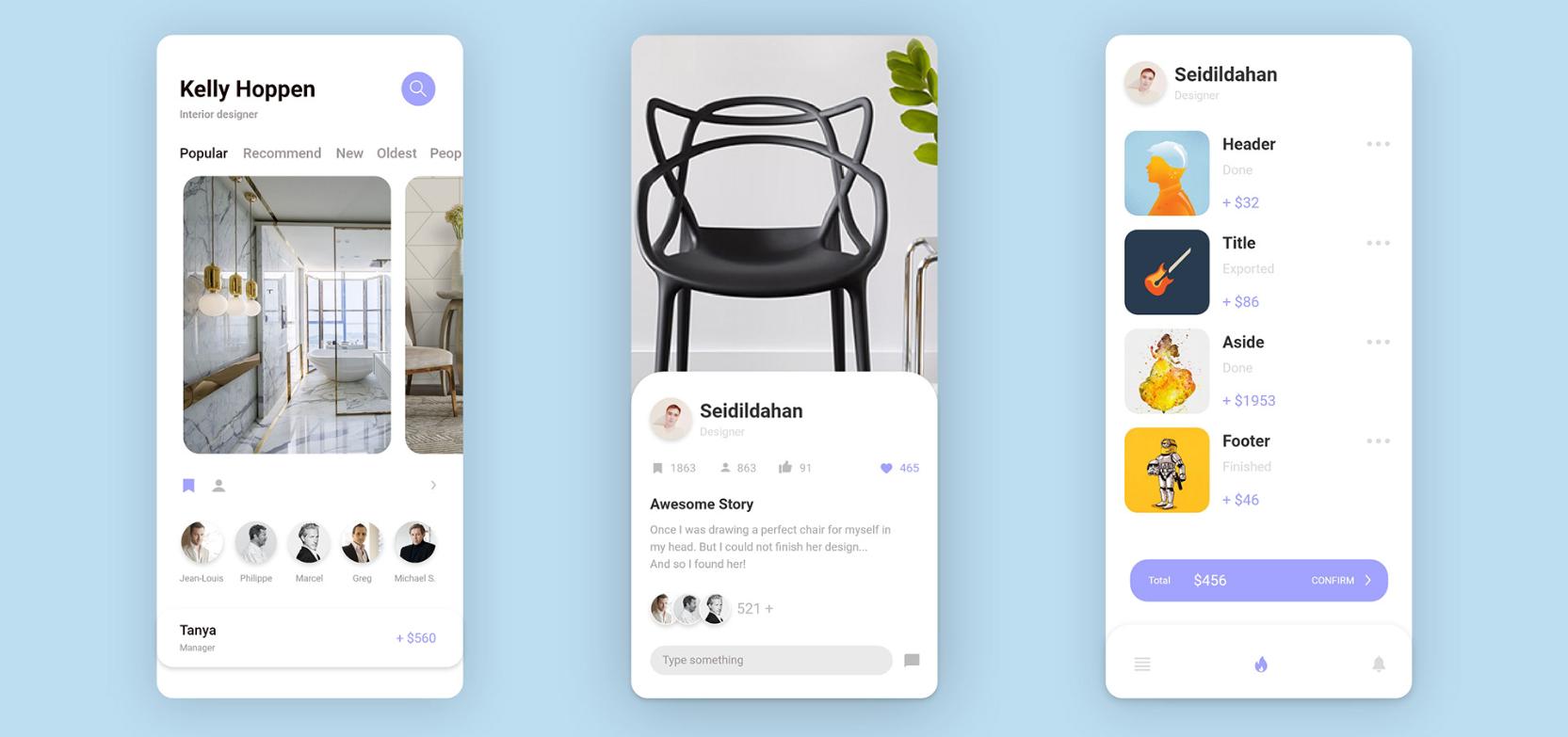 interior design mobile app adobe xd ui kit