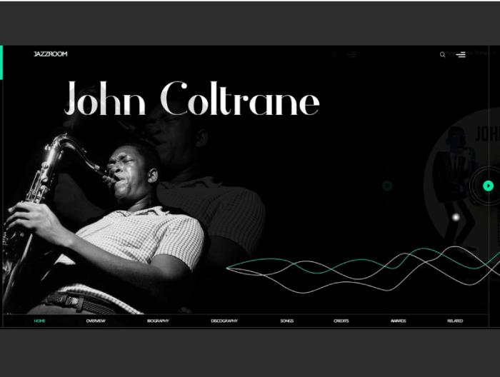music john coltrane animated website design presentation
