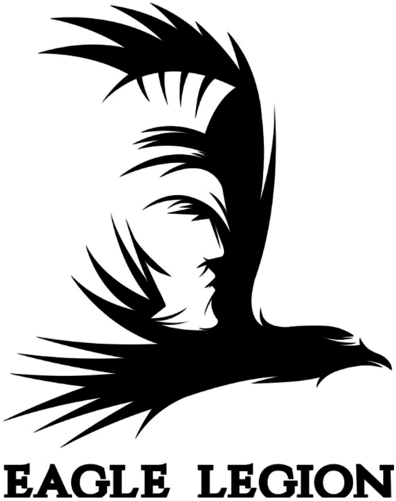 eagle legion negative space warrior logo