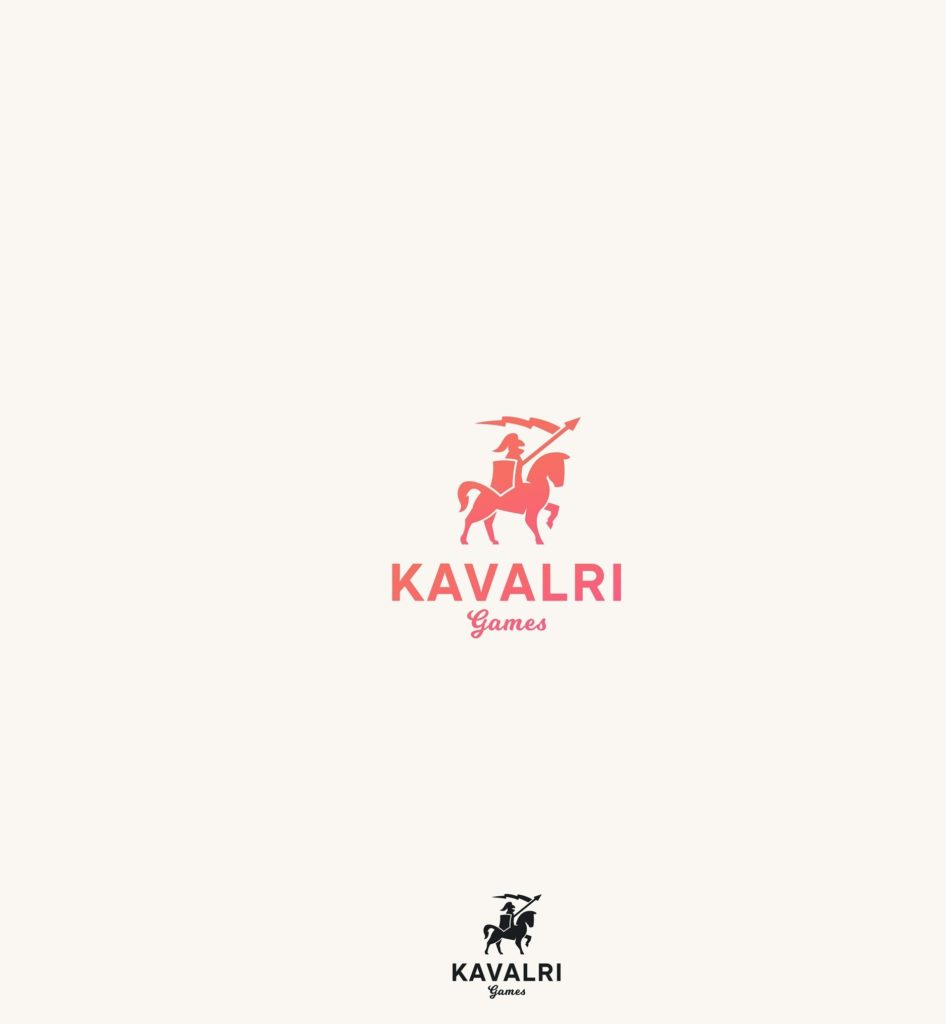 kavalri minimalist knight on a horse logo