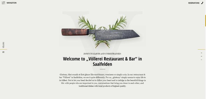 vollerei restaurant website