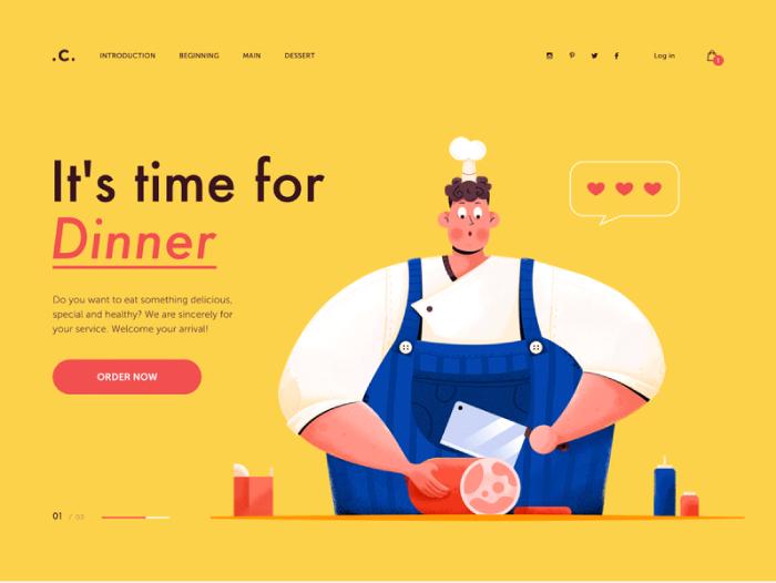 animated cartoon cook web design