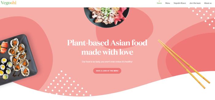vegoshi plant-based Asian food restaurant