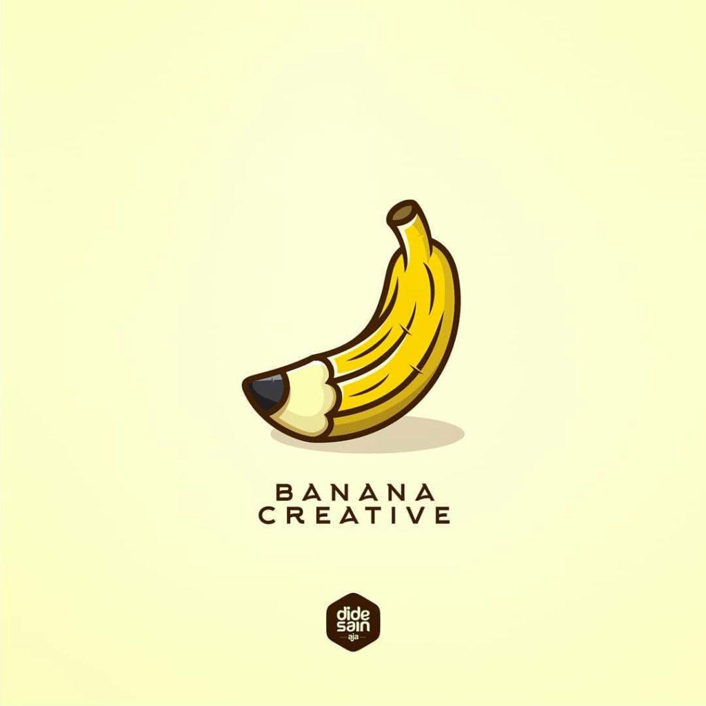 banana creative logo banana shaped as a pencil