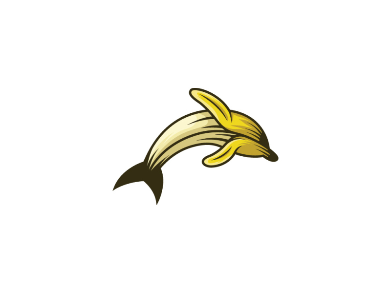 banana dolphin creative fruit logo