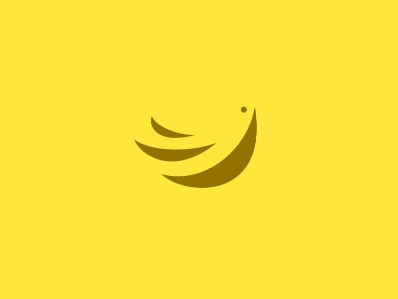 banana bird negative space logo