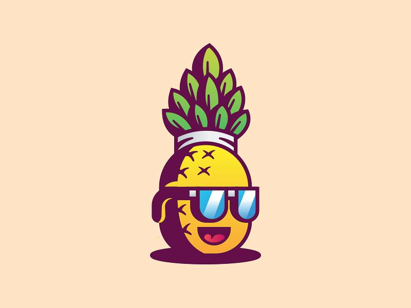 pineapple dude mascot logo
