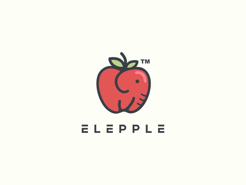elepple minimalistic elephant in an apple logo