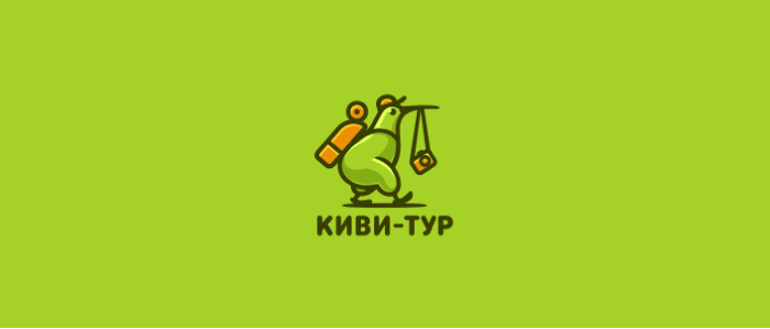kiwi character logo design