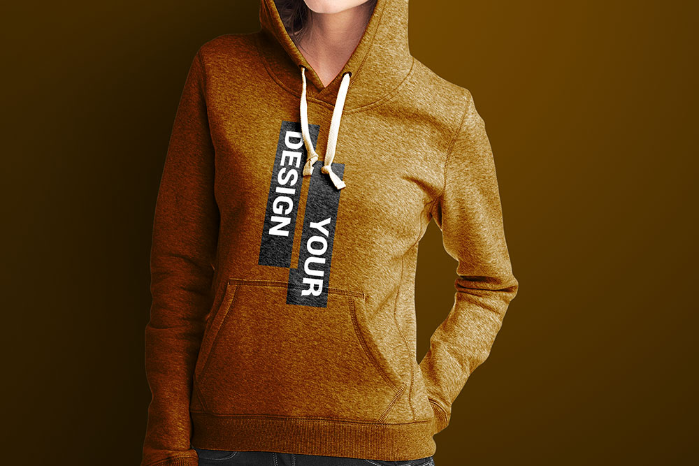 Young Woman Wearing a Hoodie PSD Mockup