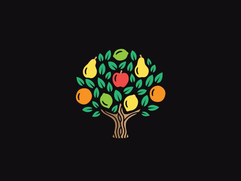 fruit tree colorful logo design idea