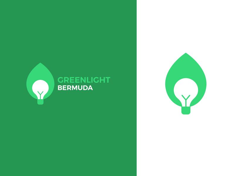 greenlight bermuda leaf and a lightbulb eco logo design