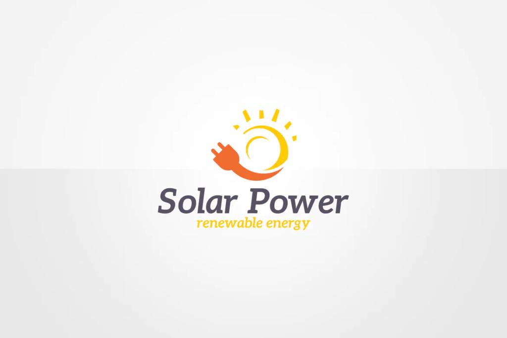 solar power sun and power plug logo