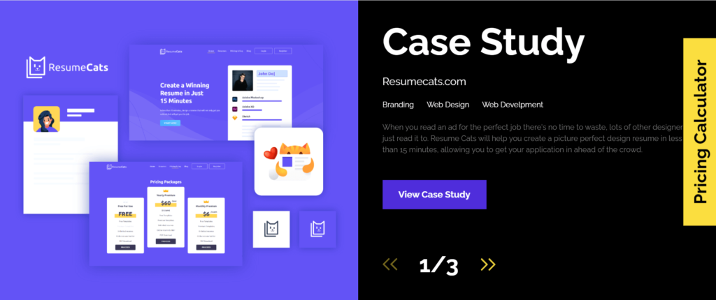Visual Hierarchy & Case Study Page of Inkyy Web Design & Branding Studio