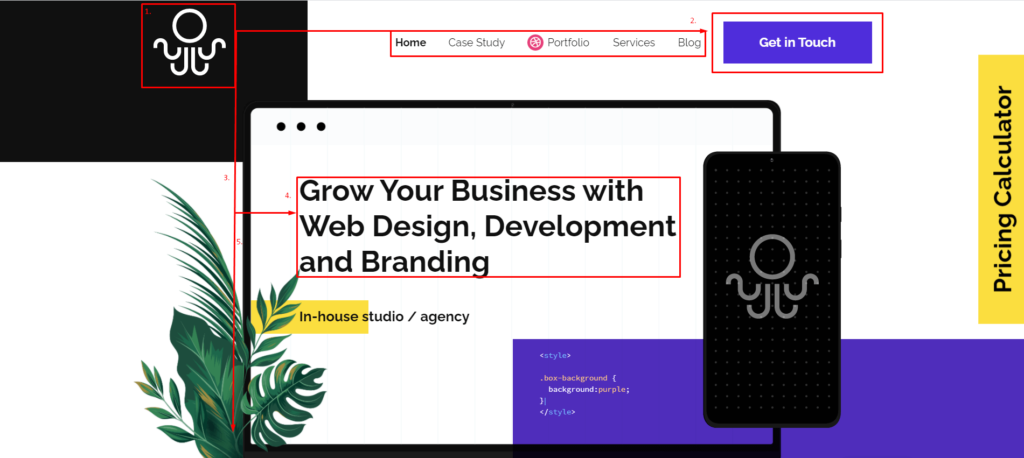 Visual Hierarchy Breakdown of Inkyy Web Design & Branding Studio Homepage