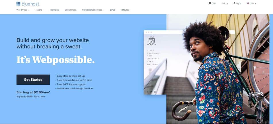 Bluehost - Top 5 Hosting Websites - Inkyy Web Design Blog